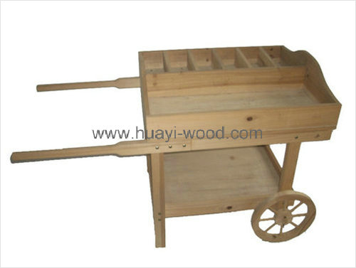 natural wood display cart